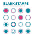 set of blank round stamps collection vector image