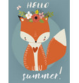 Summer cute fox vector image