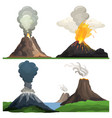 volcano eruption on white vector image