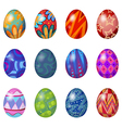 A dozen of easter eggs vector image vector image