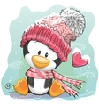 Cute Penguin in a knitted cap vector image