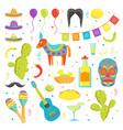 cartoon symbol of mexico color icons set vector image