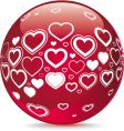 sphere with heart shape symbols vector image vector image
