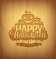 Wood carving happy halloween design vector image