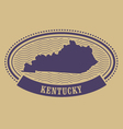 Kentucky map silhouette - oval stamp vector image