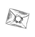 envelope in sketch style with sealing wax outline vector image