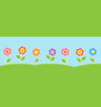 horizontal background with cute flowers vector image