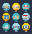 Set of modern colorful flat buildings icons vector image