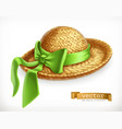 straw hat 3d icon vector image