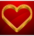 Valentine background with gold heart and jewels vector image