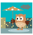 The Owl From The Rain Under An Umbrella vector image vector image
