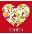 Healthy life Cartoon style heart with healthy vector image