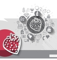 Hand drawn strawberry icons with icons background vector image