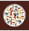 Africa design seal stamp shape culture icon set vector image