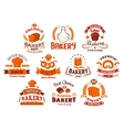 Bakery and pastry shop icons vector image