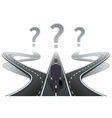 Businessman in front of question with roads vector image