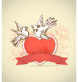 red heart and dove vector image