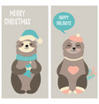 set of christmas card with two funny sloths vector image