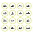 Set round icons of water transport vector image