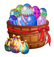 A basket full of easter eggs vector image vector image