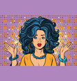sad beautiful disco girl gesture hands vector image
