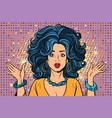 sad beautiful disco girl gesture hands vector image vector image
