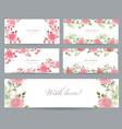 romantic collection of greeting cards with vector image vector image