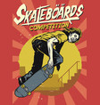 hand drawing of skateboarding competition poster vector image vector image