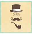 Hipster with hipster elements vector image vector image