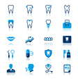 Dental flat with reflection icons vector image