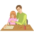 Father helps daughter to read a book vector image vector image