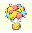 yellow envelope flying on color balloons vector image