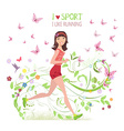 Greeting card with Sporty brunette jogging for vector image