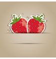 card with paper strawberries vector image