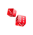couple of red casino dices gambling devices vector image