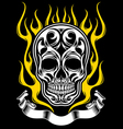 ornate flame skull tattoo vector image