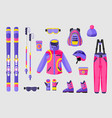 set of snowboarding gear clothing equipment icons vector image