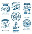 Set surfing labels and emblems on white background vector image