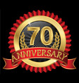 70 years anniversary golden label with ribbons vector image vector image