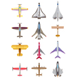 Different airplanes icons set vector image