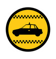color circular emblem of taxi car side view vector image