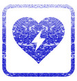 heart power framed textured icon vector image