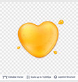 heart shaped honey drop on transparent background vector image