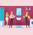 plumber and family couple in bathroom interior vector image