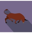 Brown bull icon flat style vector image