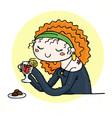 Cute doodle girl with cup of tea and chocolate vector image