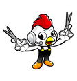 funny chicken character holding a cooking vector image
