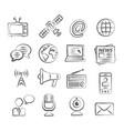 media doodle icons vector image