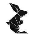 origami rabbit icon simple black style vector image