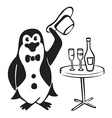 Penguin gentleman with wine vector image